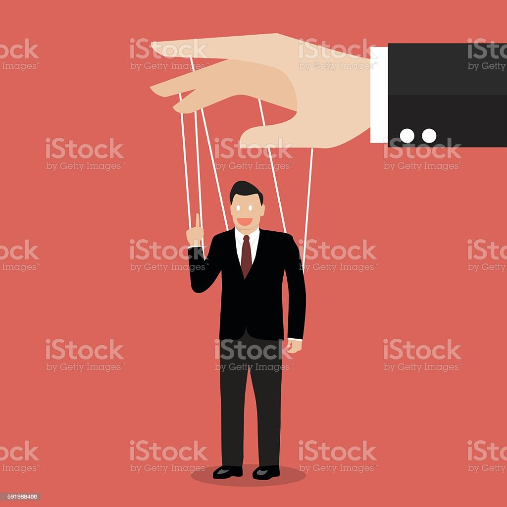 Businessman marionette on ropes vector art illustration