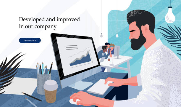 businessman marketer working at the computer in the office, vector flat illustration of programmer, business analyst, designer, manager vector art illustration