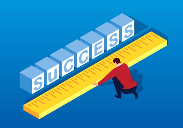사업 성공에 거리를 측정 - 측정 장치 stock illustrations