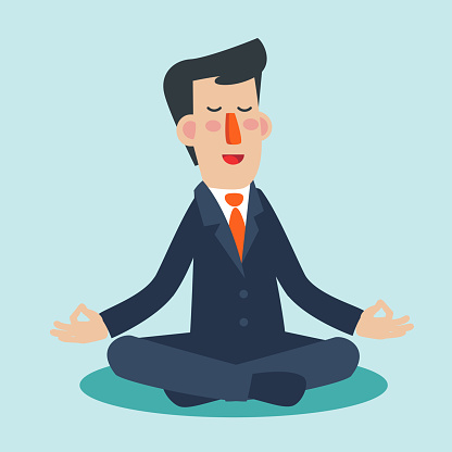 businessman meditates in lotus position business people