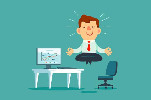 Geschäftsmann meditiert am Büroschalter – Vektorgrafik