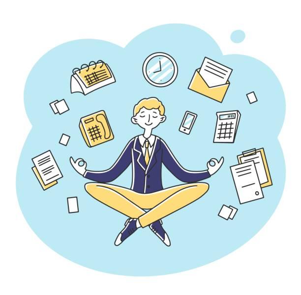 stockillustraties, clipart, cartoons en iconen met zakenman die bij werkplaats vlakke vectorillustratie mediteert - stickers met relief