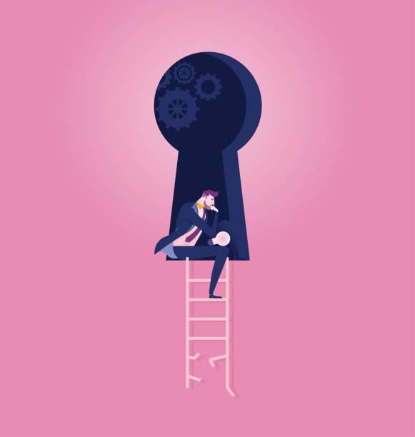Businessman meditating the way to success - Illustration Businessman meditating the way to success - Illustration keyhole stock illustrations