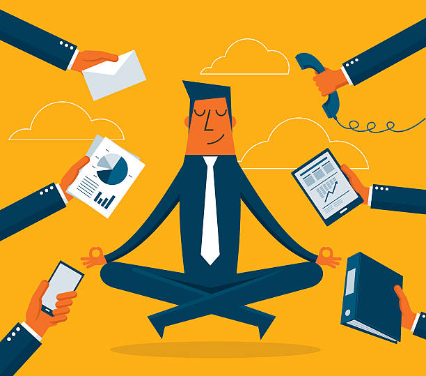 geschäftsmann meditation - entspannungsmethoden stock-grafiken, -clipart, -cartoons und -symbole