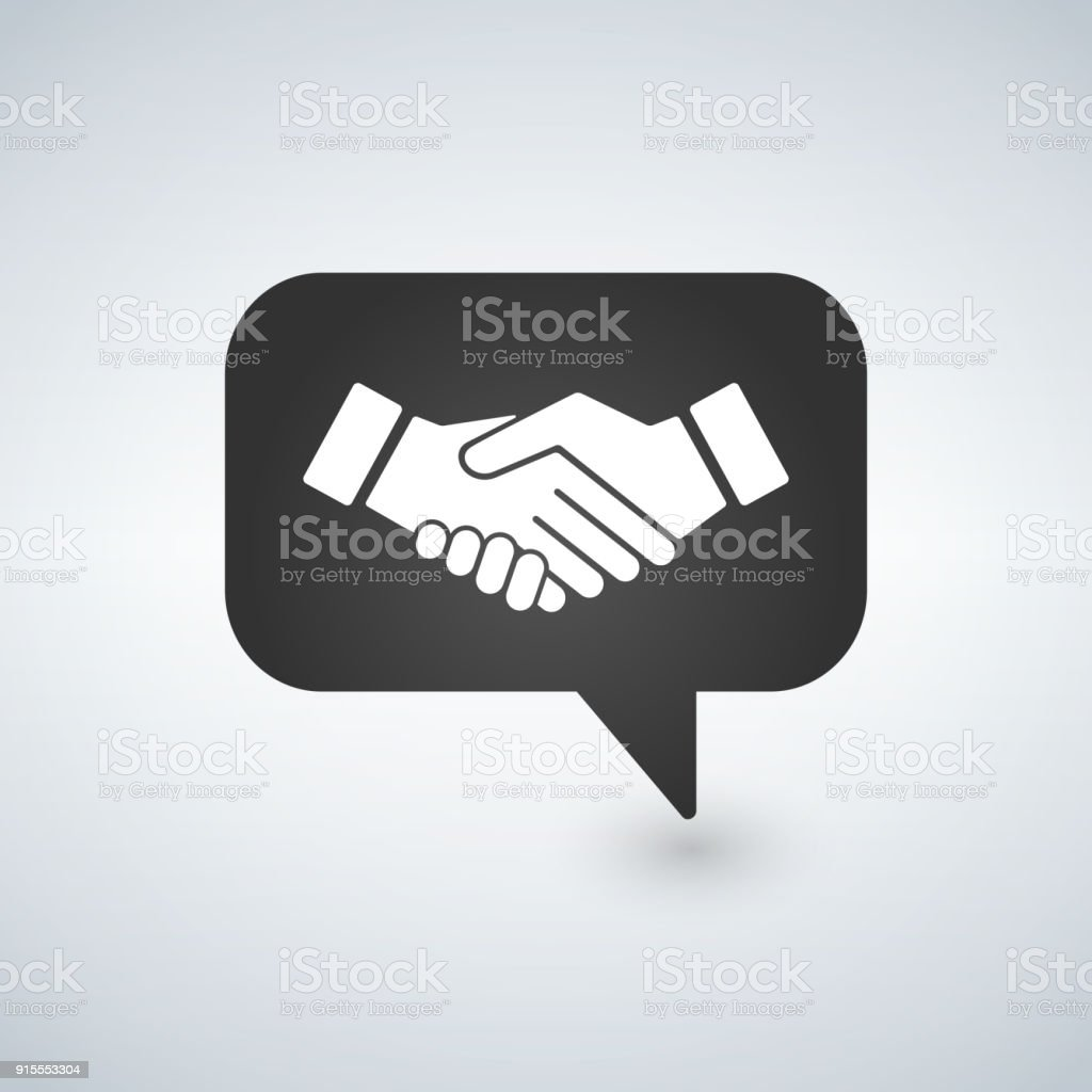 Businessman Meeting Bubble Handshake Simple Isolated Vector Icon