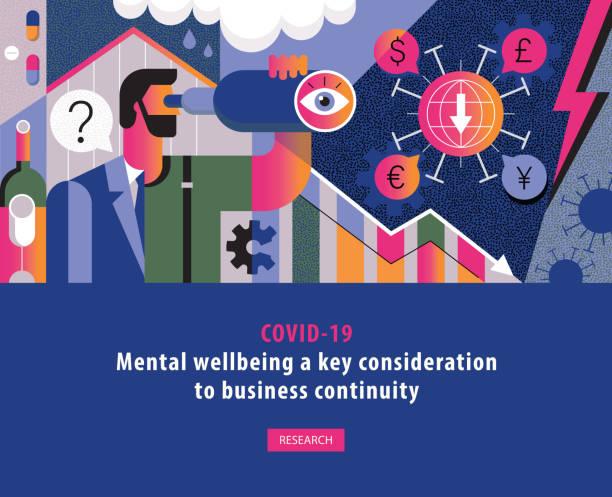 COVID-19 Geschäftsmann psychische Not Konzept Abdeckung Vorlage – Vektorgrafik