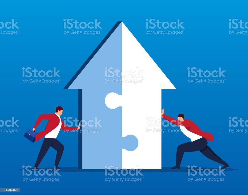 Businessman merging arrows together vector art illustration