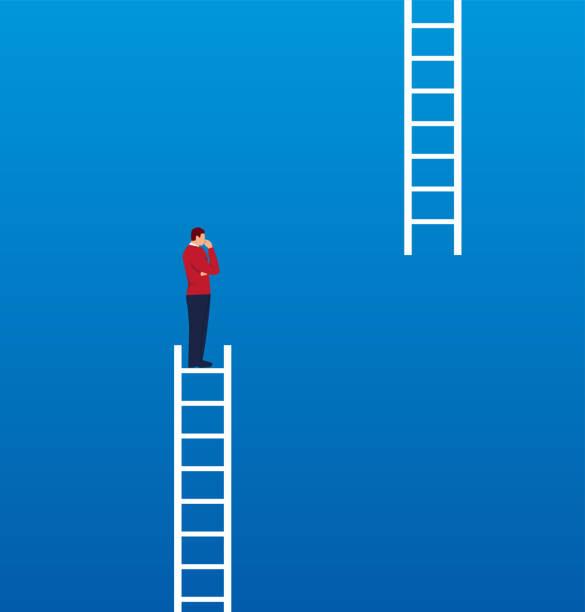 ilustrações de stock, clip art, desenhos animados e ícones de businessman missing ladder climbing upwards - deceção