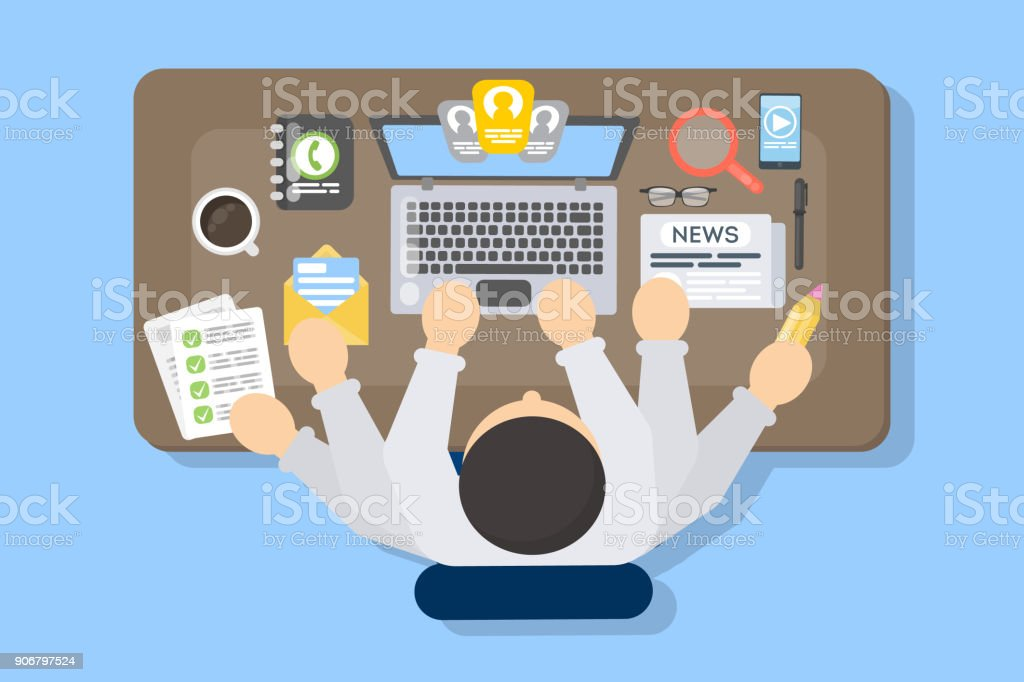 Businessman multitasking at work place. vector art illustration