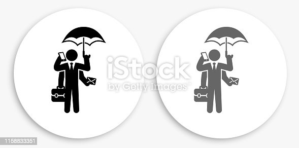 Businessman Multitasking Black and White Round Icon. This 100% royalty free vector illustration is featuring a round button with a drop shadow and the main icon is depicted in black and in grey for a roll-over effect.