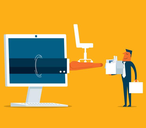 businessman - new job - desktop pc - work from home stock illustrations