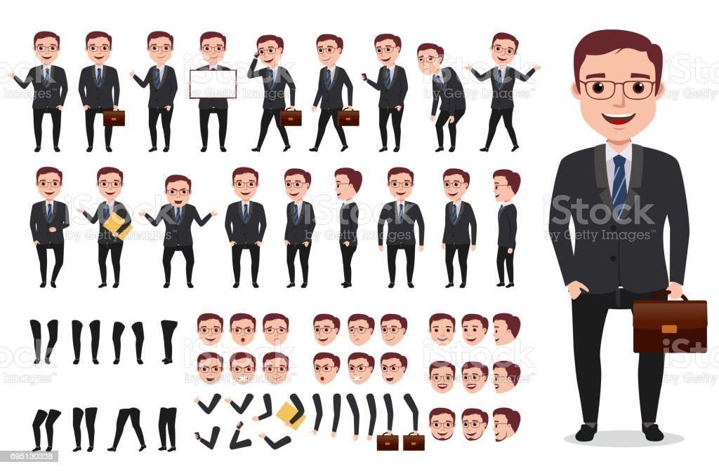 Kit de création personnage homme d'affaires office vecteur mâle. Jeu de caractères - Illustration vectorielle