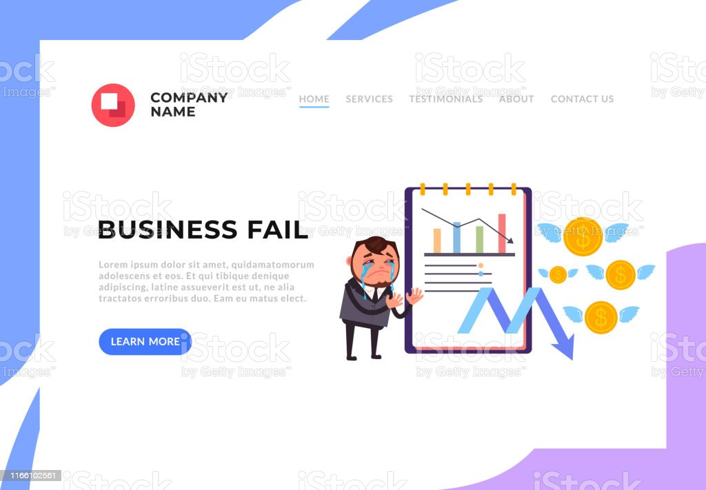 Businessman office worker character crying about business fail....