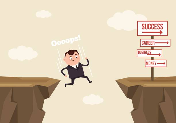 Businessman office worker man character jumps over ravine and fall down. Fail concept Businessman office worker man character jumps over ravine and fall down. Fail concept. Vector flat cartoon illustration cliff stock illustrations