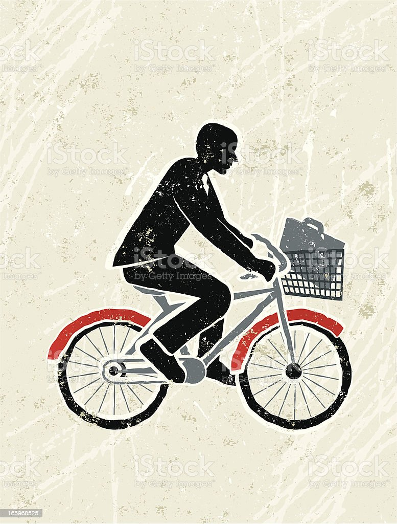 Businessman on a Bicycle royalty-free stock vector art