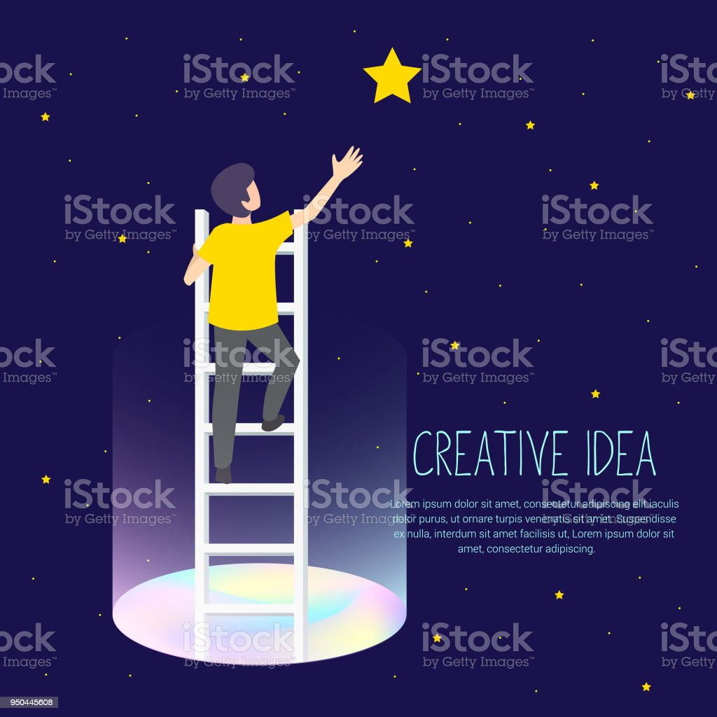 Businessman on a ladder to pick the star above cloud. Vector Illustration Business concept a ladder Corporate of success. vector art illustration