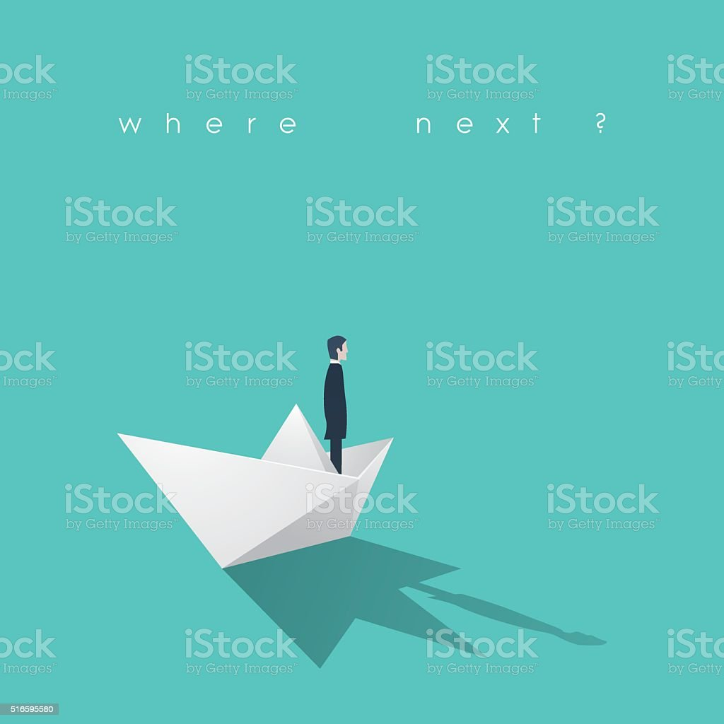 Businessman on a paper boat. Business leadership and goal, objective vector art illustration