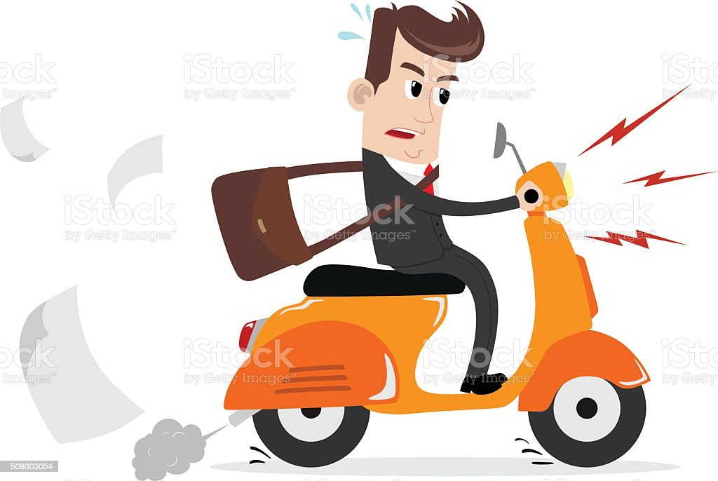 Businessman on a scooter to work vector art illustration