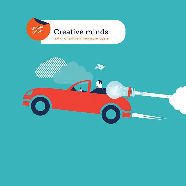 Businessman on a sports car with bulb vector art illustration