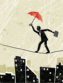 Instability! A stylized vector cartoon of a Man  balancing on a tightrope, the style is  reminiscent of an old screen print poster, suggesting balance, security, pressure,financial instability,danger, or skill. Man, Umbrella, paper texture and background are on different layers for easy editing. Please note: clipping paths have been used,  an eps version is included without the path.