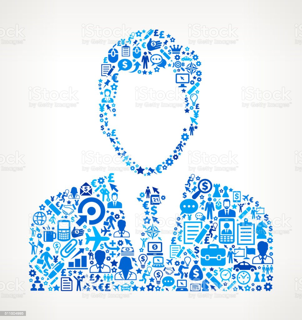 Businessman on Business Icon Pattern