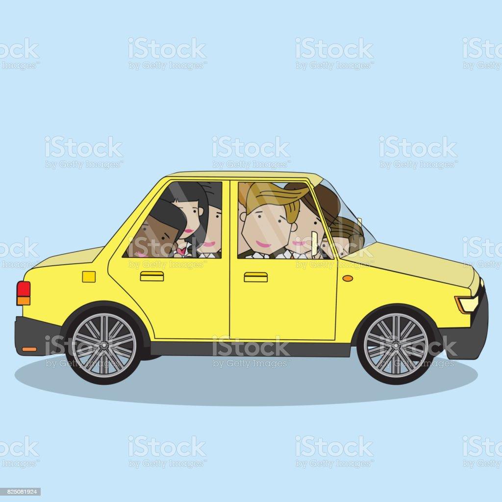 homme d'affaires sur le concept de partage de voiture. - Illustration vectorielle