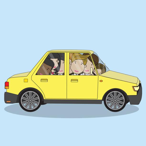 illustrations, cliparts, dessins animés et icônes de homme d'affaires sur le concept de partage de voiture. - covoiturage