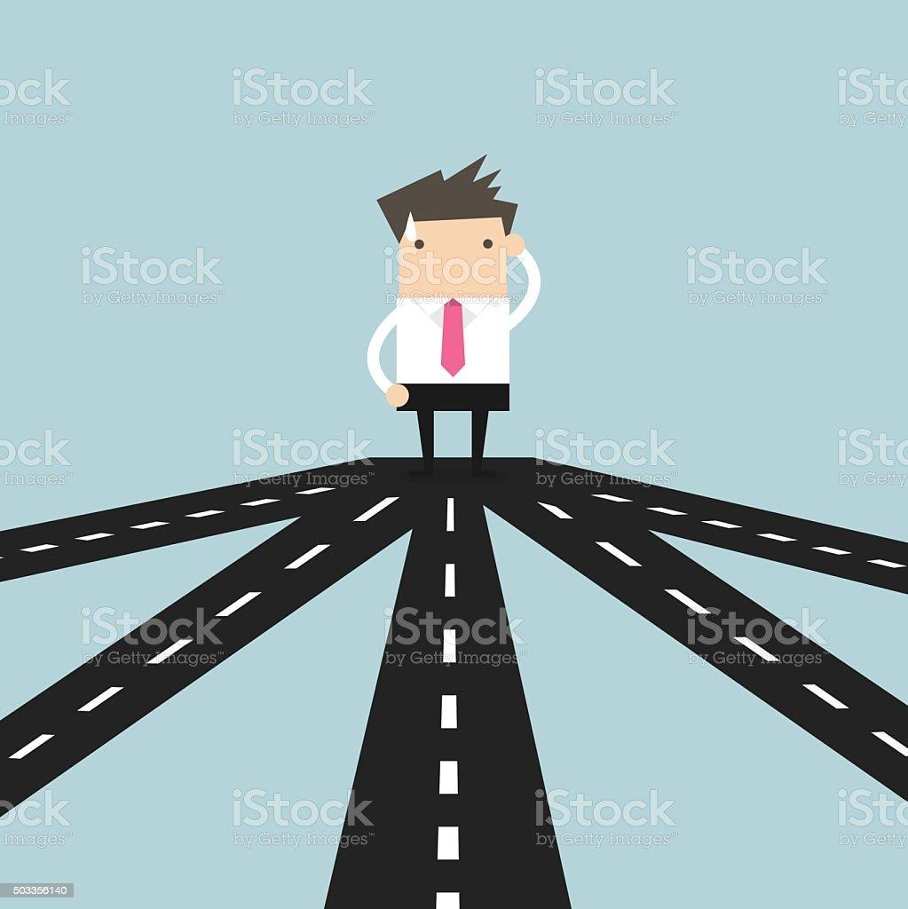 Businessman on crossroad choosing future direction to success vector art illustration