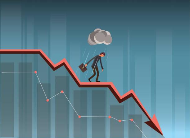 stockillustraties, clipart, cartoons en iconen met zakenman op grafiek vallen. - recessie