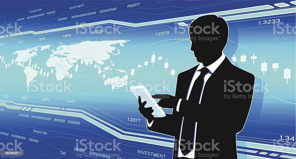 Businessman on hi-tech background royalty-free businessman on hitech background stock vector art & more images of analyzing