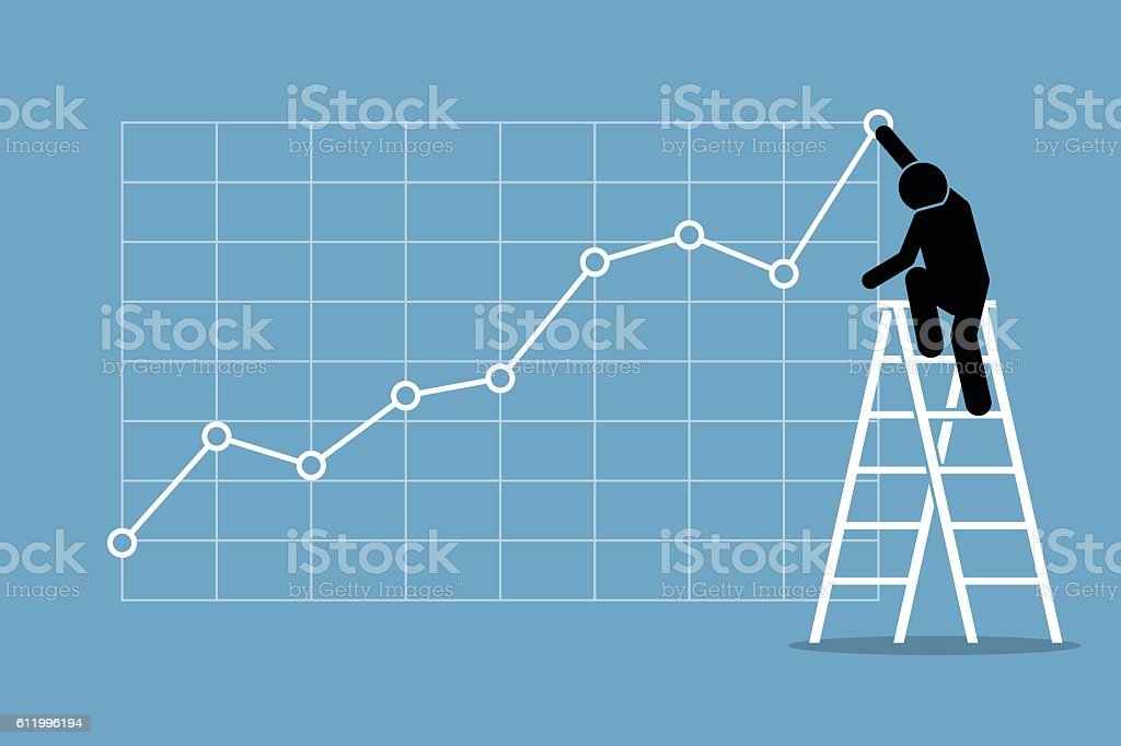 Businessman on Ladder with Chart vector art illustration