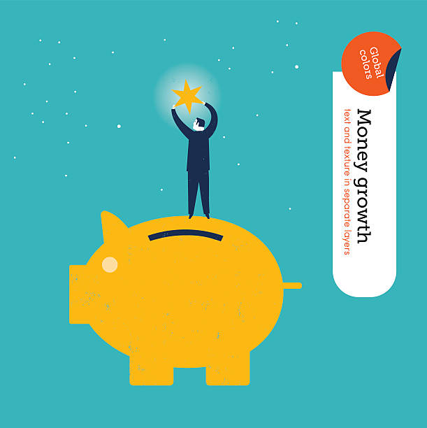 Businessman on money pig getting a star vector art illustration