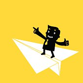 Businessman on Paper Airplane | Yellow Business Concept