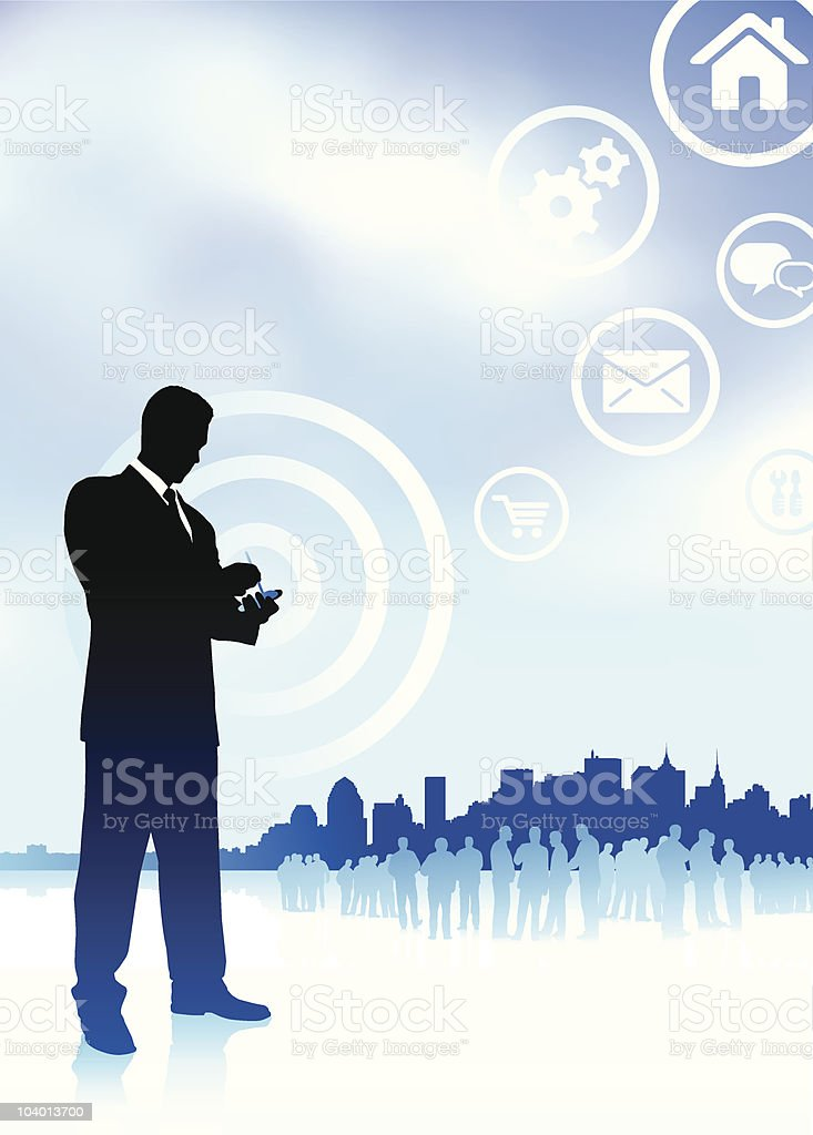 businessman on phone with internet icons new york skyline background royalty-free stock vector art
