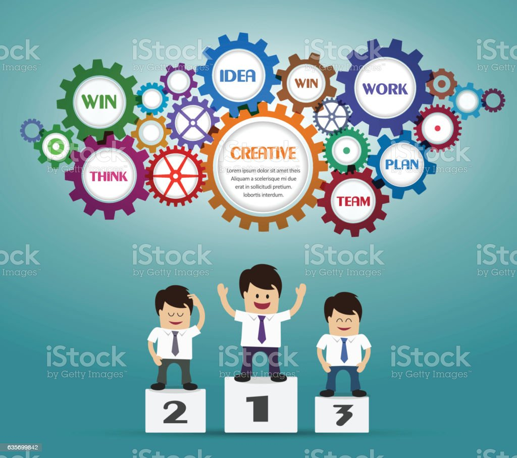 Businessman on podium and gears royalty-free businessman on podium and gears stock vector art & more images of adult