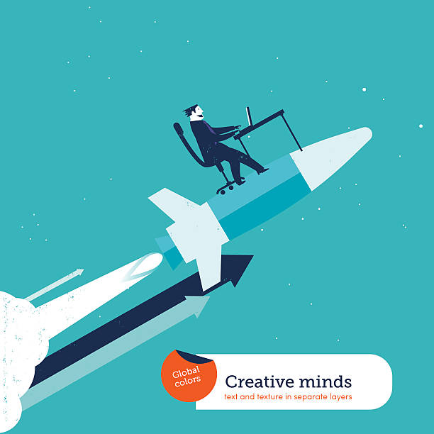 Businessman on rocket with computer vector art illustration