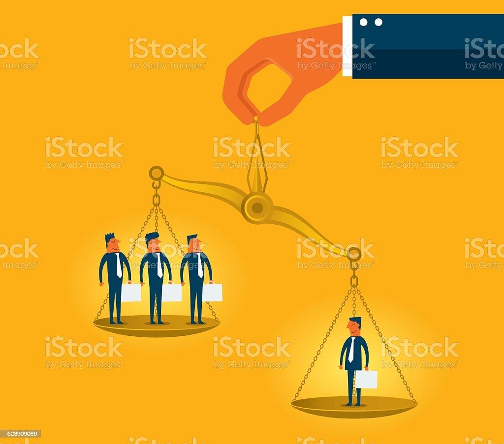 Businessman on scales vector art illustration