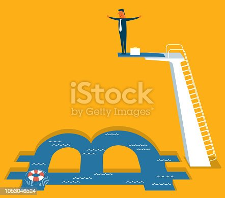 Isometric businessman on springboard ready to jump in the bitcoin symbol pool