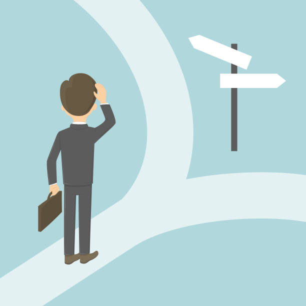 Businessman on the crossroads. Businessman on the crossroads. Choosing the right way. Concept of changes, strategy and direction. lost stock illustrations