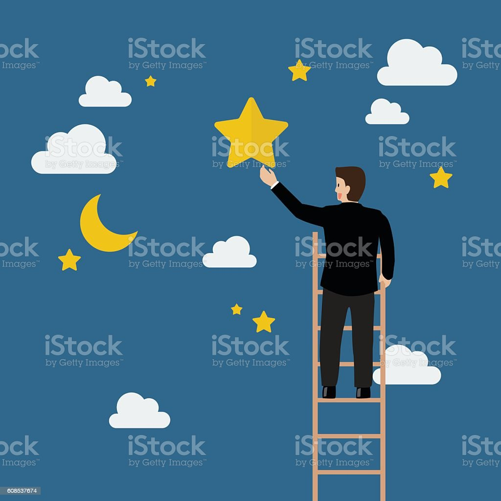 Businessman on the ladder trying to catch the star - Illustration vectorielle