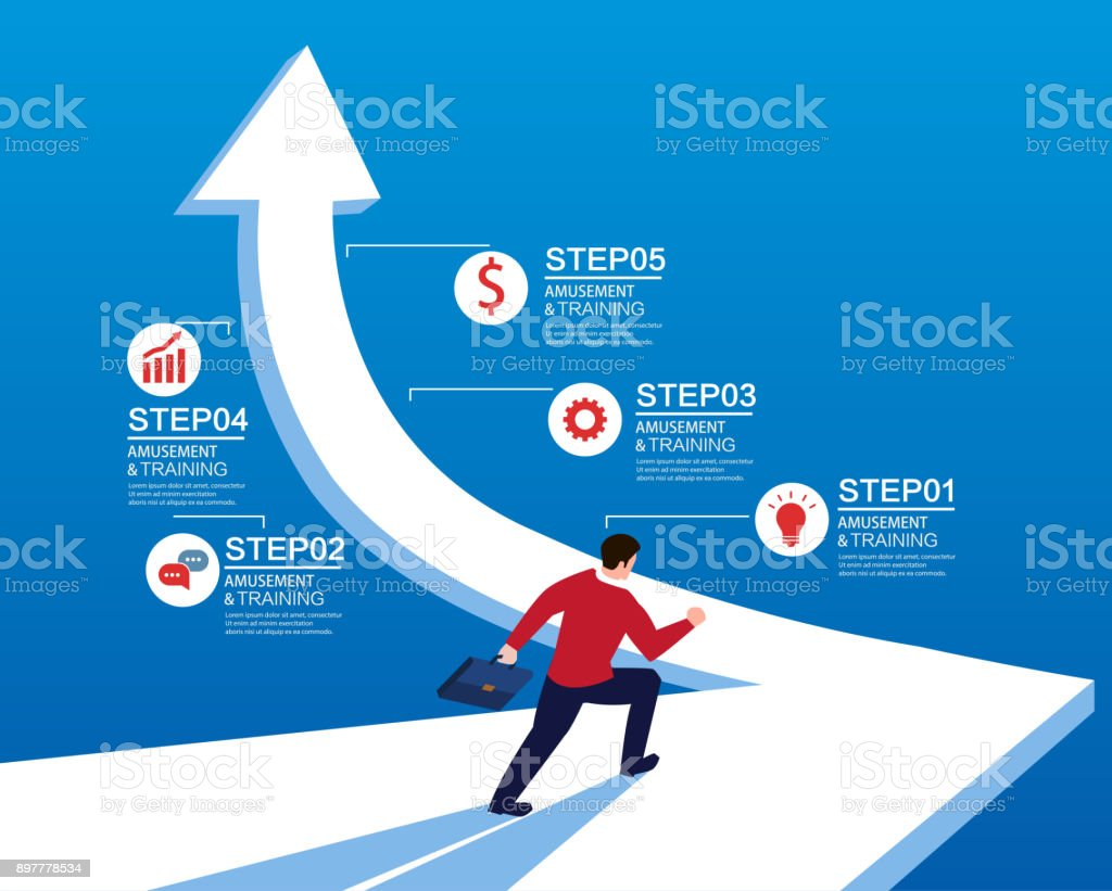 Businessman on the road to success royalty-free businessman on the road to success stock illustration - download image now