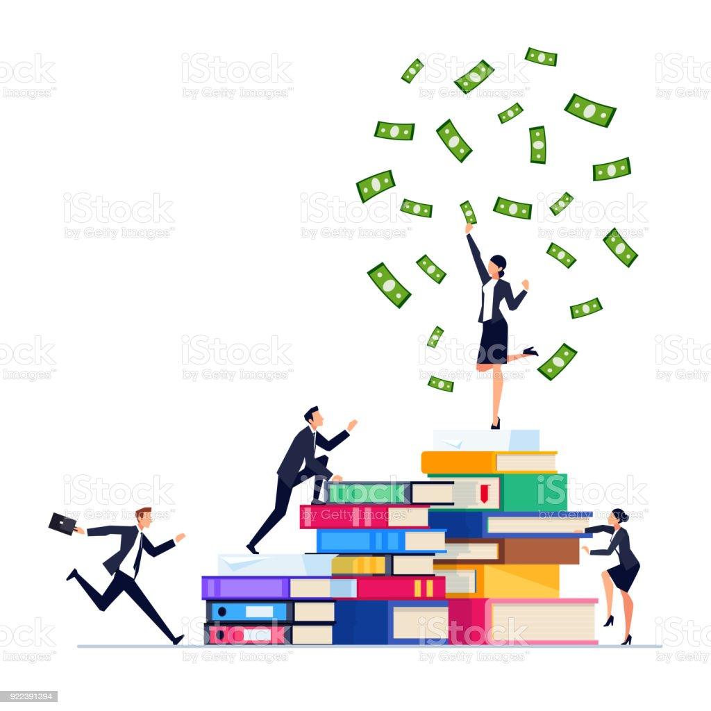 une daffaires Homme sur une pile homme sur livres de d'affaires pile de azpxRaq6