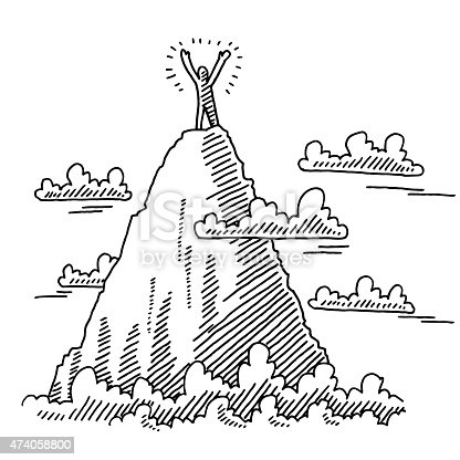 Hand-drawn vector drawing of a Businessman On Top Of a Mountain. Business Success Concept Image. Black-and-White sketch on a transparent background (.eps-file). Included files are EPS (v10) and Hi-Res JPG.