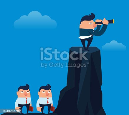 Businessman on top of the mountain and businessman under the mountain