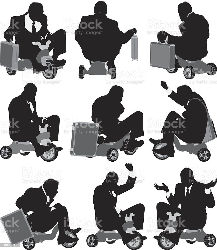 Businessman on tricycle vector art illustration