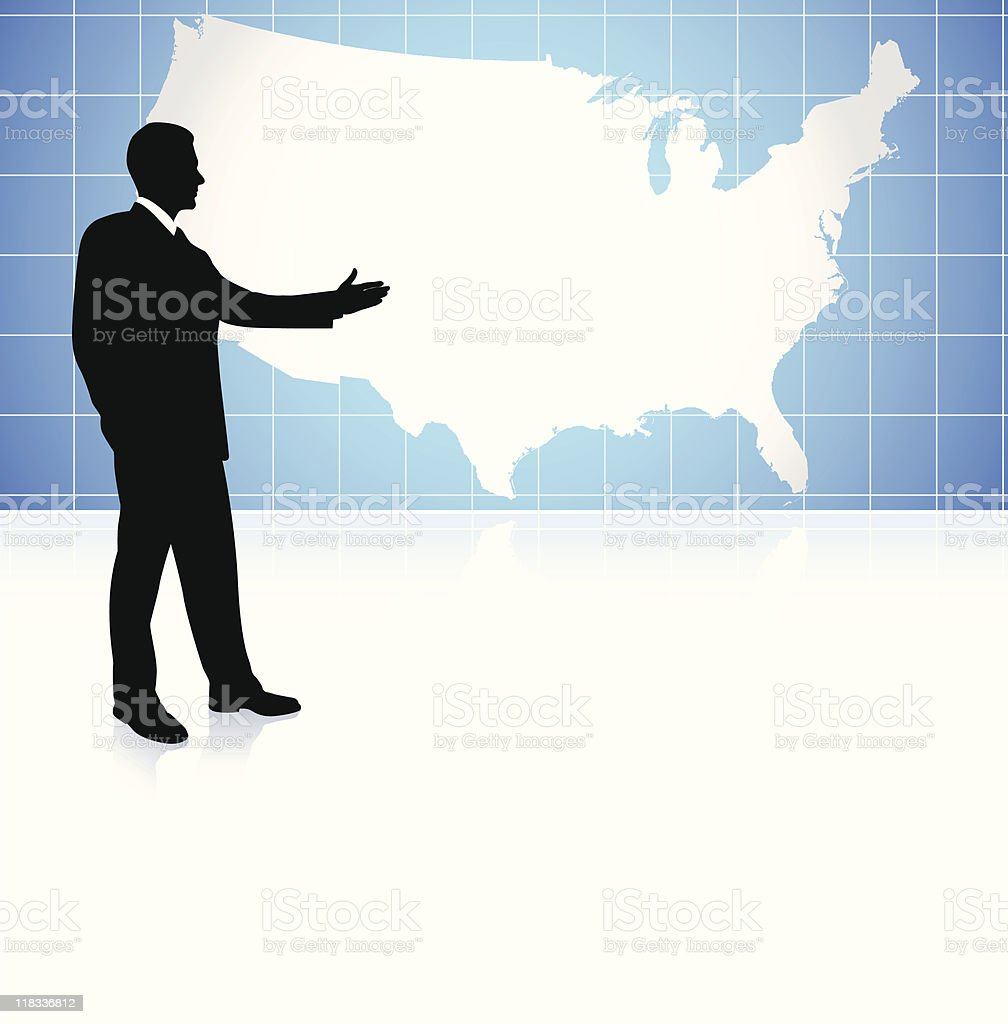 Businessman on US map background royalty-free stock vector art