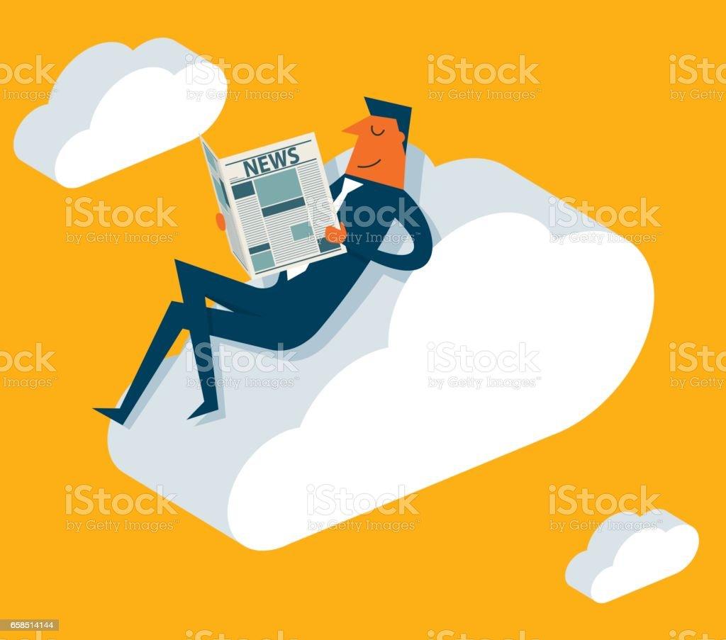Businessman online reading news vector art illustration