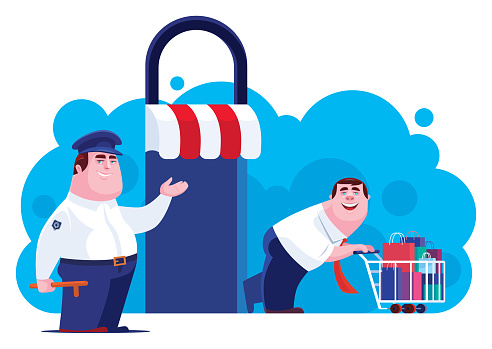businessman online shopping with security guard