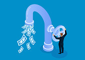 istock Businessman opens faucet valve to control money outflow 1212333891