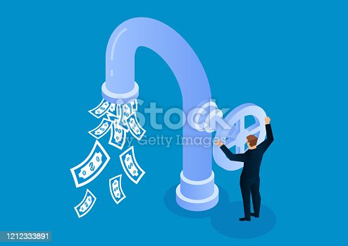 Businessman opens faucet valve to control money outflow